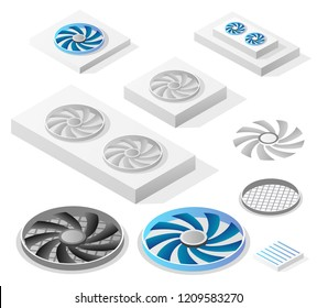 A set of isometric computer fans components, industrial equipment.