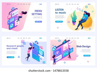 Set of isometric concepts menu setting, web design, listen to music, data analysis. For Landing page concepts and web design