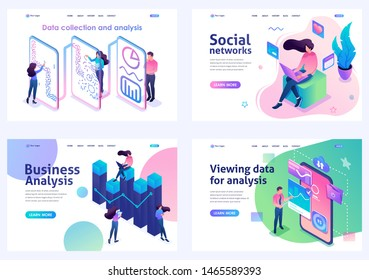 Set of isometric concepts.social networks, data analysis, business analysis, data collection. For Landing page concepts and web design