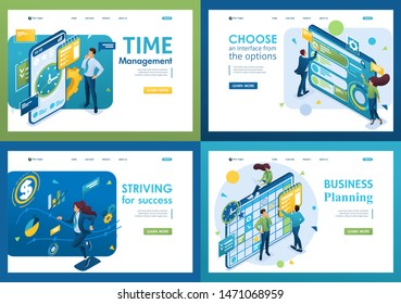 Set of isometric concepts.time management, success, business planning, using interface. For Landing page concepts and web design.