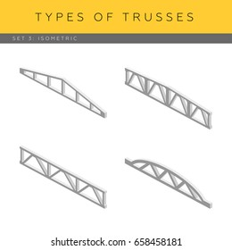 Set of isometric concrete trusses, vector icons