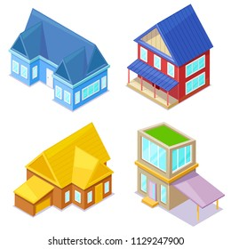 Set of isometric cottages on white background. Vector illustration.