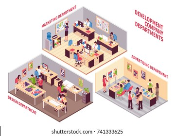 Set of isometric coworking spaces of development company with employees working  in design marketing and advertising departments vector illustration