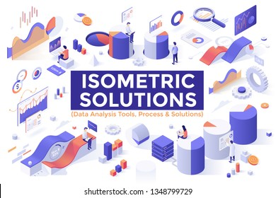 Set of isometric design elements, objects or symbols isolated on white background - information and big data analysis tools, analytics and statistics, charts, diagrams, graphs. Vector illustration.