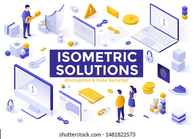 Set of isometric design elements or objects isolated on white background - encryption technology, encrypted data, protection of information, internet safety and security. Modern vector illustration.