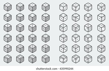 A set of isometric dice icons in thin line style