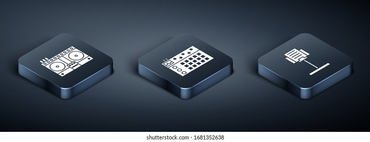 Set Isometric DJ remote for playing and mixing music, Music stand and Drum machine icon. Vector