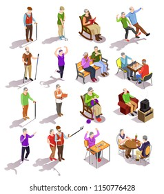 Set of isometric elderly people during various activity cooking physical exercises meeting with friends isolated vector illustration