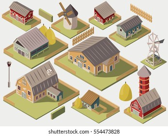 Set of isometric farms with mills barn and silo hay fence and street lamp isolated vector illustration