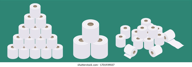 Set of isometric and flat design stacked toilet paper vector illustration