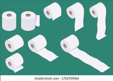 Set of isometric and flat design toilet paper vector illustration