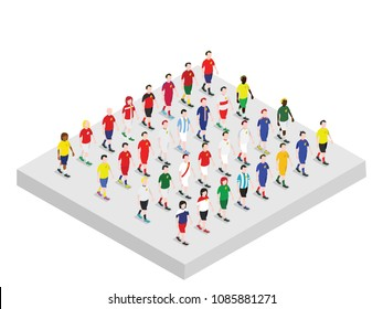 Set of isometric football players 3
