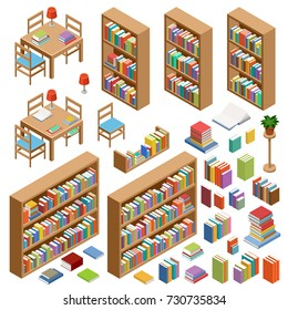 Set of isometric furniture for library. Books. Vector illustration