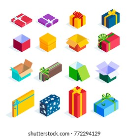 Set of isometric gift boxes isolated on white background. Bright icons of colorful gifts. 3d open and closed presents with ribbons and bows. Vector illustration.