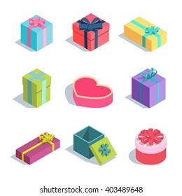 Set of isometric gift boxes with ribbon bows. Vector flat design illustration