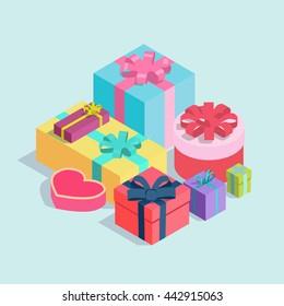 Set of isometric gift boxes. Vector flat design illustration
