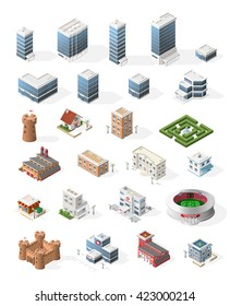 Set of Isometric High Quality City Element for Map. Buildings.