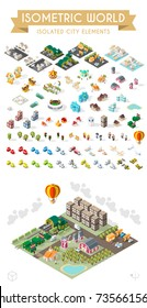Set of Isometric High Quality City Element on White Background . City