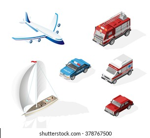 Set of Isometric High Quality Vehicles with 45 Degrees Shadows on White Background. Police Car , Fire Truck , Ambulance , Airplane , Boat and Car.