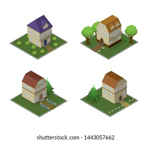 Set isometric houses. Cartoon buildings for village or city, infographic, game and advertising of real estate. Vector