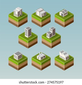 Set Isometric houses with elements of the landscape
