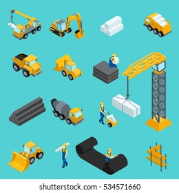 Set Isometric icons for construction workers, crane, machinery, power, transportation, clothing, special machinery. Vector illustration.