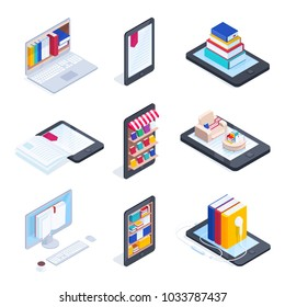 Set of isometric icons of e-books. Mobile phone with books on the shelves. 3d concept of electronic books, audiobooks, reading online. Vector illustration.