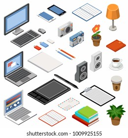 Set of isometric icons. Equipment and office accessories. Vector illustration