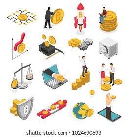 Set of isometric icons with ico blockchain concept, safe bitcoin, cryptocurrency mining, startup project isolated vector illustration