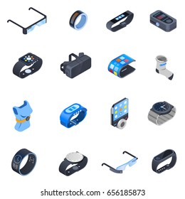 Set of isometric icons with wearable technology including watches, augmented reality glasses, smart clothing isolated vector illustration