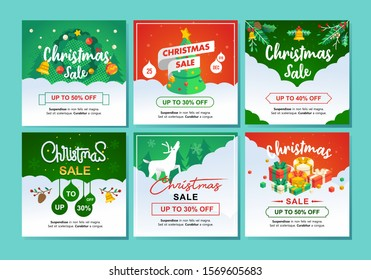 set isometric illustration of chirstmas sale and winter discount with 30 up 50 percent cut price and cute illustration of christmas element.