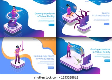 Set Isometric Illustration Virtual Entertainment. Banner Set Image Future Gaming in Virtual Reality. Group People Playing Video Game with Glasses for Virtual Reality. Playgrounds Future