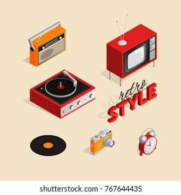 A set of isometric illustrations of vintage objects.