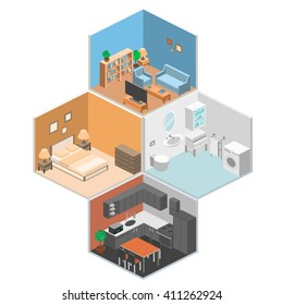 set of isometric interior rooms of a house.