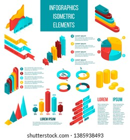 Set of isometric isolated elements for infographics. Business concept on white background in red, yellow, blue colors.  Can be used for info graphics, flow charts, presentations, web sites, banners.