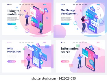 Set isometric landing pages, a concept with young teenagers information search and protection, mobile application development. For website and mobile apps development