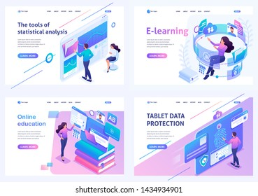 Set isometric landing pages, on the topic of online training, information security, data Analytics. For website and mobile apps development