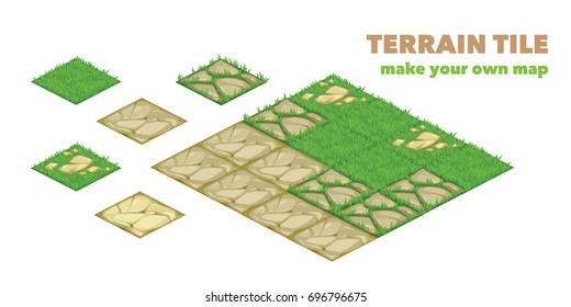 Set of isometric landscape design compositions for city constructor or other game type. Terrain tile. isolated vector illustration