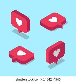 Set of isometric Like icons for social media