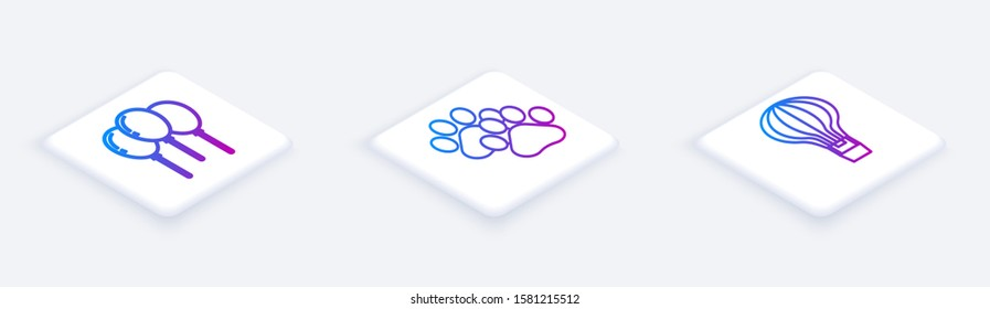 Set Isometric line Balloons with ribbon, Paw print and Hot air balloon. White square button. Vector