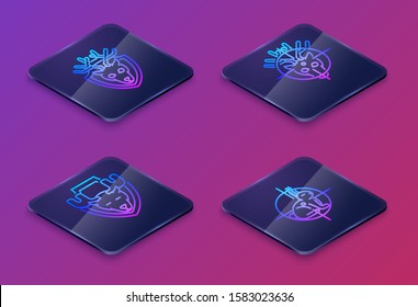 Set Isometric line Deer head with antlers on shield, Moose head on shield, Hunt on deer with crosshairs and Hunt on rabbit with crosshairs. Blue square button. Vector