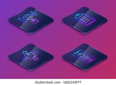 Set Isometric line Delivery drone with the package, Cardboard box with traffic symbol, Verification of delivery list clipboard  and Mobile phone with app delivery tracking . Blue square button. Vector