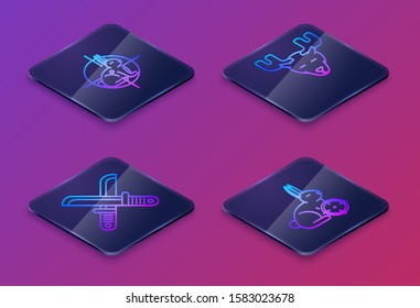 Set Isometric line Hunt on rabbit with crosshairs, Crossed hunter knife, Moose head with horns and Hunt on rabbit with crosshairs. Blue square button. Vector
