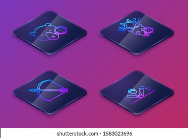 Set Isometric line Hunt on bear with crosshairs, Bow and arrow in quiver, Hunt on deer with crosshairs and Trap hunting. Blue square button. Vector