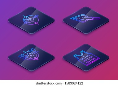 Set Isometric line Hunt on duck with crosshairs, Hunt on moose with crosshairs, Hipster arrow tip and Hunting jacket. Blue square button. Vector