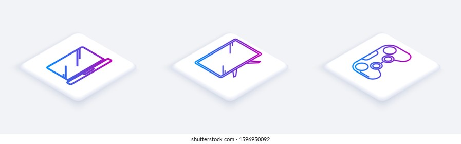 Set Isometric line Laptop , Smart Tv  and Gamepad . White square button. Vector