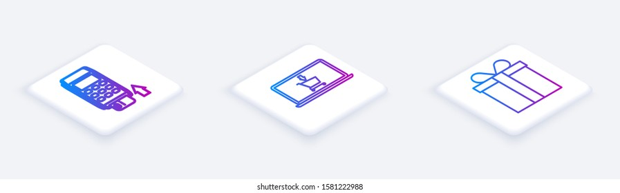 Set Isometric line Pos terminal with inserted credit card, Shopping cart on screen laptop and Gift box. White square button. Vector