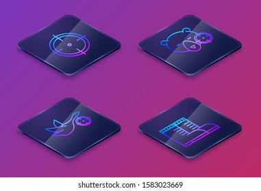 Set Isometric line Target sport for shooting competition, Hunt on duck with crosshairs, Hunt on bear with crosshairs and Hunter boots. Blue square button. Vector