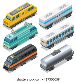 Set of Isometric Locomotives and Freight Car, Cistern and Passenger Coach. Vector Design.