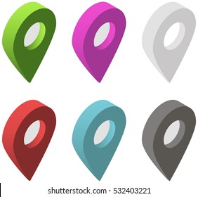 Set of isometric map pointers. Multicolor map pin icons. Collection of Map marker. Vector illustration.
